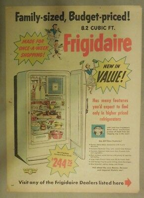 Frigidaire Refrigerator Ad: Family Sized, Budget Priced Refrigerator! from 1951