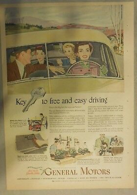 GM Car Ad: The Key To Free and Easy Driving! from 1950 Size: 11 x 15 Inches