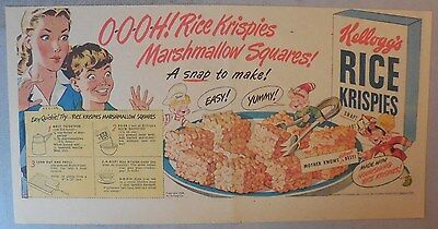 Kellogg's Cereal Ad: Rice Krispies Marshmallow Squares 1930-1940's 7 x 15 inches