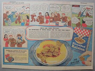 """Ralston Cereal Ad: """"Dumb Dora--She's Not So Dumb"""" from 1940's 11 x 15 Inches"""