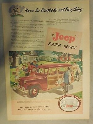 Willy's Jeep Ad: The Jeep Station Wagon Room For Everybody and Everything! 1946