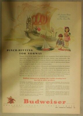 Budweiser Beer Ad: Pinch Hitting For Norway! from 1940's