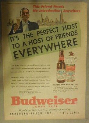 Budweiser Beer Ad: This Friend Needs No Introduction Anywhere ! from 1950