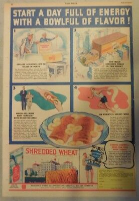 Nabisco Cereal Ad: Start A Day Full Of Energy ! Shredded Wheats 1930's