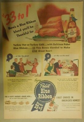 """Pabst Blue Ribbon Beer Ad: """"33 to 1"""" Blue Ribbon Beer Blend from 1940's"""