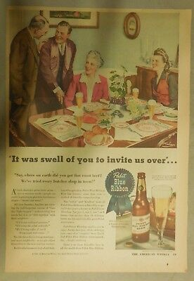 """Pabst Blue Ribbon Beer Ad: """"It's Swell Of You To Invite Us Over"""" from 1940's"""