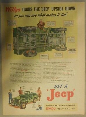 """Willy's Jeep Ad: Willy's Turns The """"Jeep"""" Upside Down!  from 1946"""