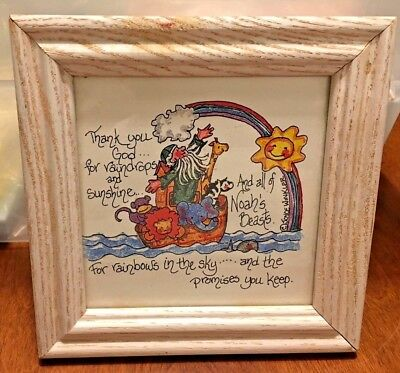 Noah's Ark FRAMED POEM PRAYER Winkler Thank you God rainbows promises you keep