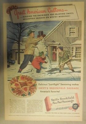 Swift and Company Ad: Swift's Premium Sausage from 1940's Size: 11 x 15 inches