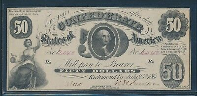 Csa #t-8 $50 1861 Washington Note Choice Xf Au Bu7024