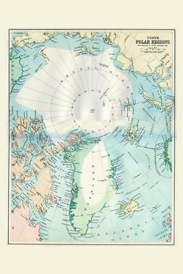 North Polar Regions 19th Century Antique Style Map Poster 24x36 inch