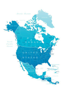 DETAILED MAP OF North America United States Canada Art Print Poster 12x18