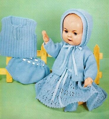 "Knitting Pattern Dolls Clothes for a 16"" Baby Doll Dress Jacket Bonnet Vest"