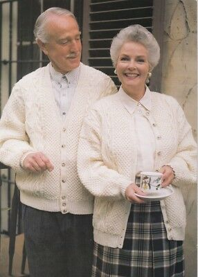 ARAN  Ladies' and Men Knitting Pattern copy V-neck and round neck CARDIGANS