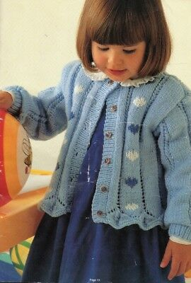 2 Girl's Knitting Pattern CARDIGANS  in 8 ply Copy 1 to 6 years