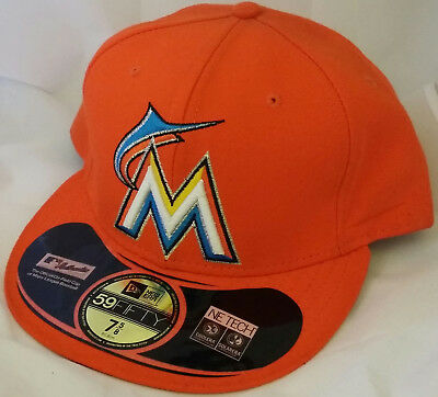 ... uk nwt new era miami marlins florida orange 59fifty size 7 5 8 fitted cap  hat 7f15dab9428f