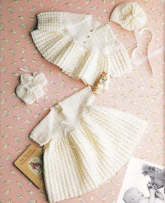 CROCHET Pattern for Baby Copy Dress Jacket & Bonnet & Bootees 3 Ply