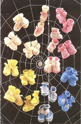 Baby Knitting Patterns for BOOTEES  Copy 4 ply Babies 1-6 Months