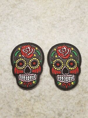 Candy Skull Applique Day of the Dead Iron Patch Sew Embroidered Badge Motif 284