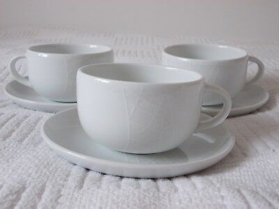 3 x Jamie Oliver Royal Worcester COMFY White on White Cups & Saucers