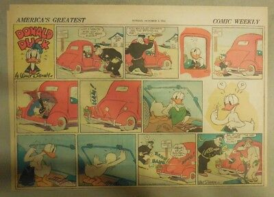 Donald Duck Sunday Page by Walt Disney from 10/5/1941 Half Page Size