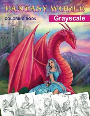 Fantasy World Grayscale Coloring Book Adult Coloring Book By