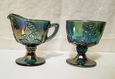 Indiana CARNIVAL Glass COLONY Harvest Blue Creamer Open Sugar Grapes & Leaves