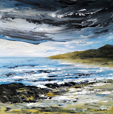 SEASCAPE CANVAS PAINTING, Sarah Featherstone, Sea, Beach, Storm Clouds, Coast