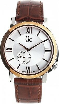 Guess Collection Gc SlimClass Men's Watch Rose Gold Brown Leather Swiss Made
