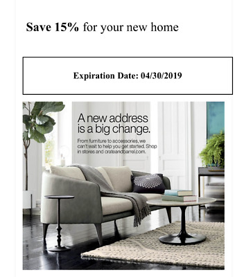 Crate and Barrel 15% off entire purchase 1coupon - sent fast - expires 4-30-19