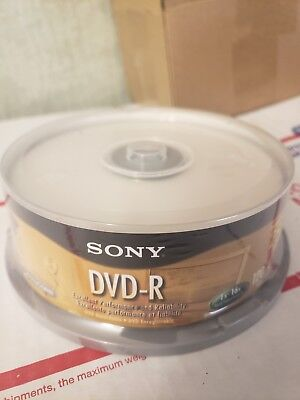 Sony DVD-R Blank Media Discs 4.7 GB 1-16x 120 Minutes 25 Pack Spindle New