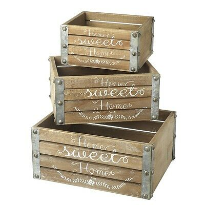 3 Quality Rustic  Shabby Chic Wooden Home Garden Storage Crates