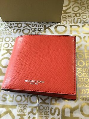 be361840841d Michael Kors Mens Harrison Leather ID Billfold Wallet Bright Orange NEW RARE
