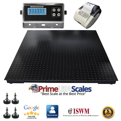 "4x4 Floor Scale 48""x48"" Indicator Printer 5,500 lb x 1 lb 5 Year Warranty"