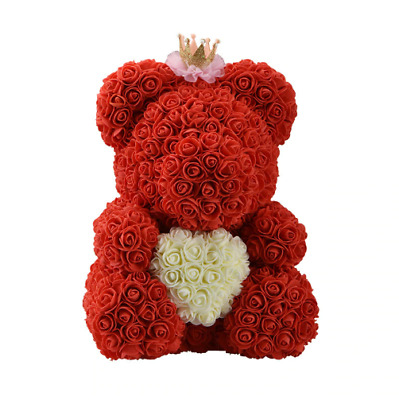 Big Red Teddy Bear Rose Flower Artificial Decoration for Women Valentines Gift