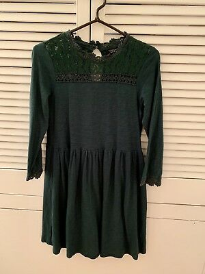 7eb8a34bfb TOPSHOP Forest Green Victoriana Shift Tunic Skater Dress Size 10 VGC Winter
