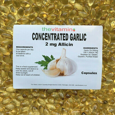 The Vitamin Garlic 200mg enriched with 2mg Allicin 180 Capsules - Bagged