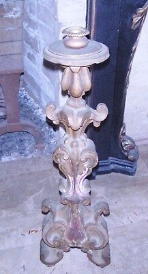 Antique French Wood Carved Large Single Altar Candle Stick