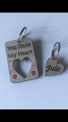 Personalised Oak Double Heart Keyring.His/Hers.Valentines Gift Boxed