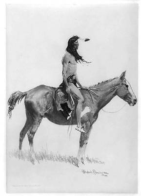 Photo: A Sioux chief on horseback,1901,Frederic Remington,photograph