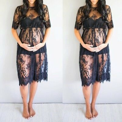 Women Maternity Lace Dress Photography Photo Props Pregnant Fancy Dress Clothes