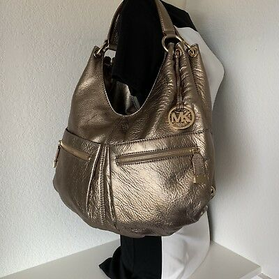 b829cec3b7a3 Michael Kors XL Gold Layton 3 Slot Leather Shoulder Bag Handbag Hobo Grab  Bag