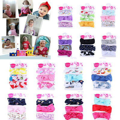 3Pcs Kids Baby Floral Headband Girls Elastic Bowknot Accessories Hairband Set