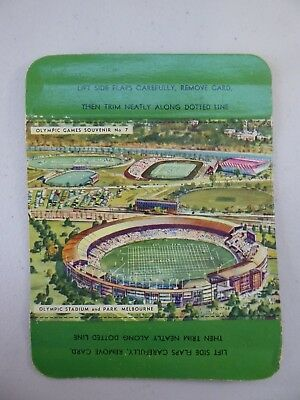 Vintage Olympic Games Souvenir Card No.7 Olympic Stadium and Park MELBOURNE