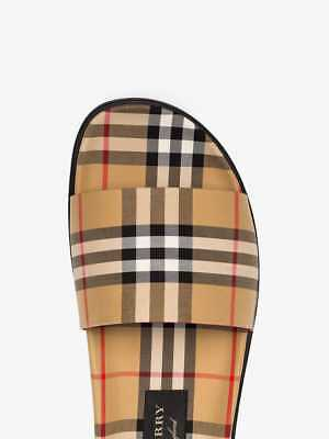 7d7238220965 NWB Burberry Check Slides Sandals Ashmore Antique Yellow Italy AW18 8.5  IT42 UK8