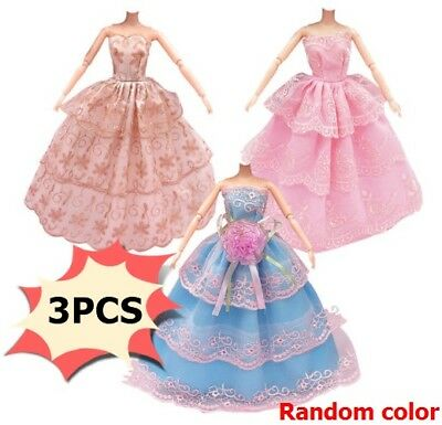 3Pcs Handmade Dolls Clothes Wedding Grow Party Dresses For Dolls Random