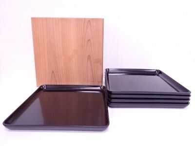 4012001: Japanese Tea Ceremony / Lacquered Square Tray Set Of 5