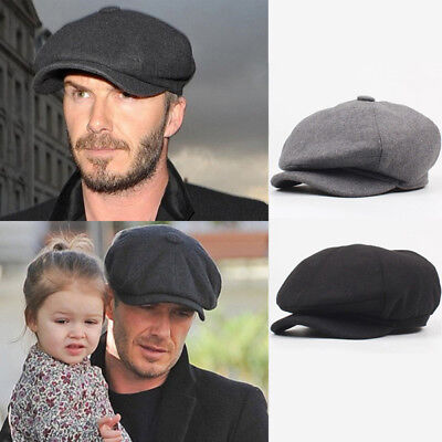 Mens Tweed Newsboy Cap Peaky Blinders Baker Boy Flat Check Grandad Hat Useful