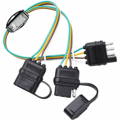 4-PIN Y-SPLITTER PLUG Trailer Light Wiring Harness Extension Flat Wire on