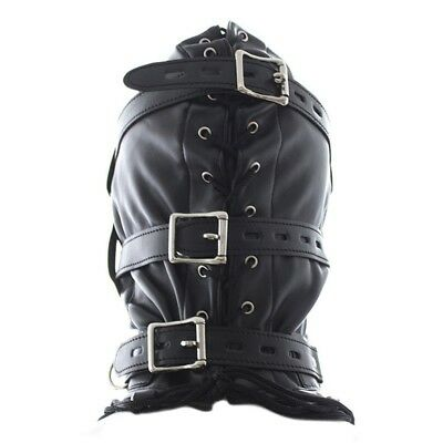 Bondage Mask Leather Hood All Closed with Mouth Gag Headgear Harness for Men AM8